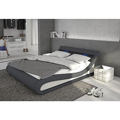 polster bett 140x200 cm dunkelgrau wei aus stoff und kunstleder kombi mit led beleuchtung. Black Bedroom Furniture Sets. Home Design Ideas