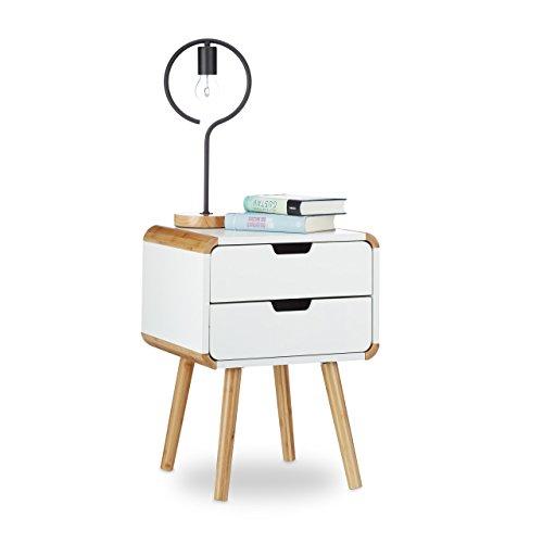 relaxdays nachttisch 2 schubladen holz nachtschrank platzsparende schlafzimmer kommode hxbxt. Black Bedroom Furniture Sets. Home Design Ideas
