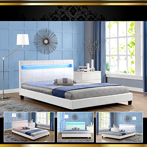 stella led weiss 160x200cm polsterbett doppelbett. Black Bedroom Furniture Sets. Home Design Ideas