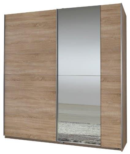 Wimex 006771 Schwebetürenschrank 198 x 180 x 64 cm, Eiche-sägerau-Nachbildung, 1 Spiegel