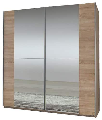 Wimex 006772 Schwebetürenschrank 198 x 180 x 64 cm, Eiche-sägerau-Nachbildung, 2 Spiegel