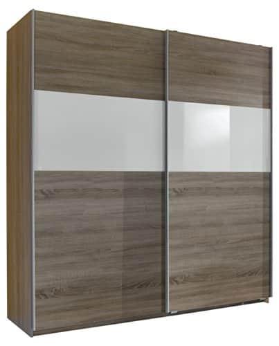 Wimex 126771 Schwebetürenschrank Front Anthrazit, Korpus Alu-Nachbildung, Absetzung Glas, 180 x 198 x 64 cm, schwarz
