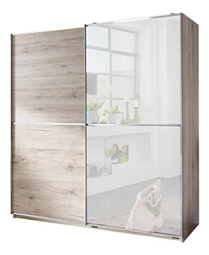 Wimex X11771 Schwebetürenschrank, Holz, san remo eiche nachbildung/ absetzungen spiegel und aufleistungen chrom, 180 x 64 x 198 cm