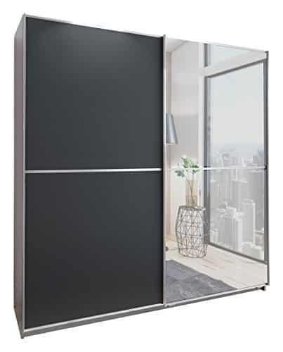 Wimex X12771 Schwebetürenschrank, Holz, front anthrazit und spiegel, korpus alu-nachbildung, aufleistungen chrom, 180 x 64 x 198 cm