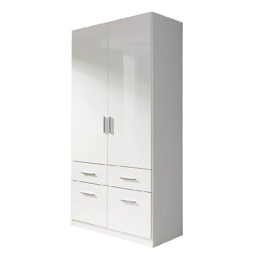 rauch kleiderschrank celle 2trg hochglanz wei mit 1 breiten kleiderstange b h t. Black Bedroom Furniture Sets. Home Design Ideas