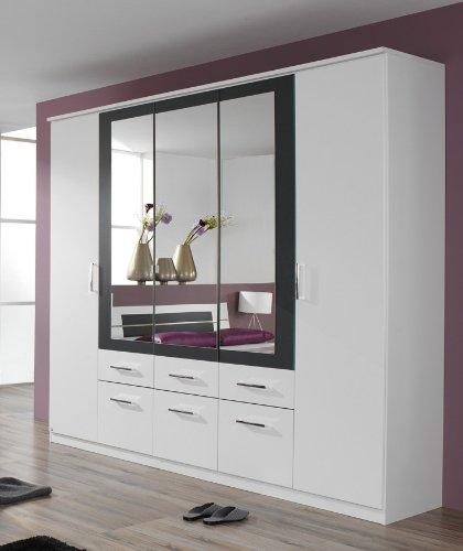 rauch Kleiderschrank Burano mit Spiegel, weiß/grau-metallic weiß/grau-metallic, B/H/T CA. 226/212/56 CM