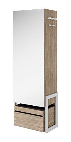 Schrank Kleiderschrank Dielenschrank CLARO (Weiß matt / Riviera Eiche)