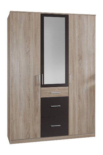 Wimex 148629 Kleiderschrank, 135 x 199 x 58 cm 3-türig mit zwei großen und einen kleinen Schubkasten, 1 Spiegel, Front und Korpus eiche sägerau Nachbildung/ Absetzungen lavafarbig