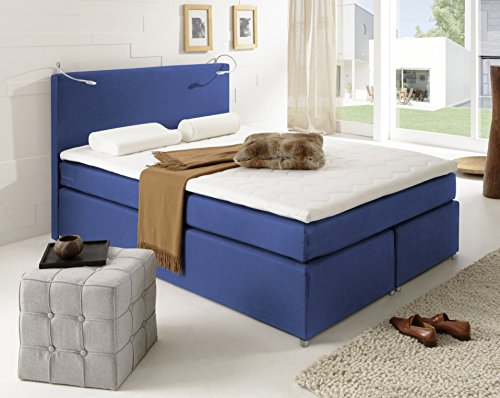 sam led boxspringbett 140x200 cm carmen stoff kobalt blau nosag box h3. Black Bedroom Furniture Sets. Home Design Ideas