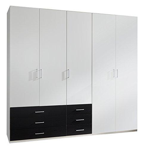 Wimex D08620 Kleiderschrank, Holz, alpinweiß, schubkästen schwarzeiche nachbildung, 225 x 58 x 210 cm