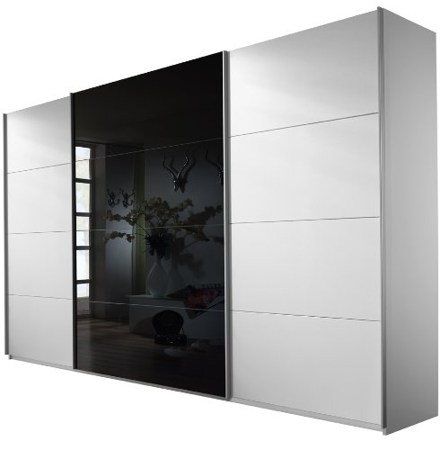 rauch schwebet renschrank kleiderschrank 3 t rig wei alpin glas absetzung schwarz bxhxt. Black Bedroom Furniture Sets. Home Design Ideas