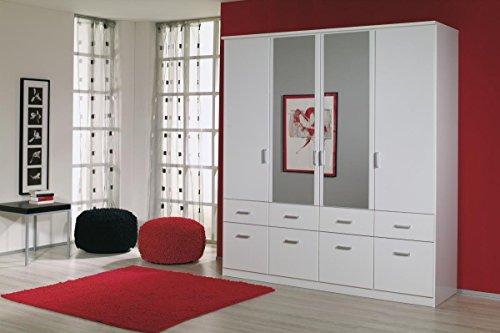 rauch kleiderschrank mit spiegel 4 t rig wei alpin mit 8 schubladen bxhxt 181x199x56 cm. Black Bedroom Furniture Sets. Home Design Ideas