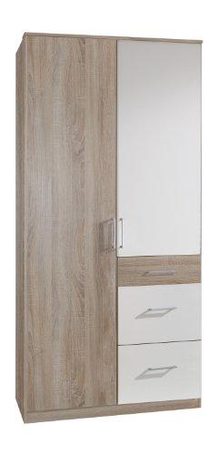 Wimex 189624 Kleiderschrank, 90 x 199 x 58 cm, 2-türig mit zwei großen und einen kleinen Schubkasten, Front und Korpus eiche sägerau Nachbildung/ Absetzungen alpinweiß