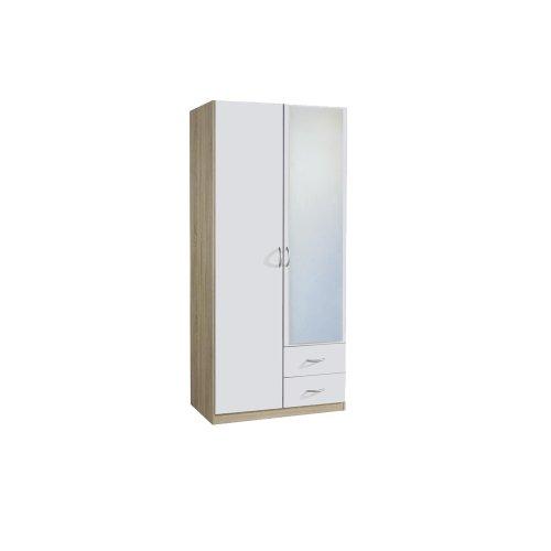 rauch Kleiderschrank Case 2-türig mit Spiegeltür, Eiche Sonoma Nachbildung/weiß