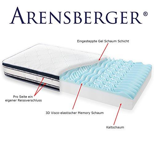 Arensberger Relaxx 9 Zonen Wellness Matratze mit 3D-Memory Foam, 140 cm x 200cm, Höhe 25cm, Raumgewicht 50 kg/m³, drei Schichten: Kaltschaum + Visco Smart Schaum + Gel Schaum