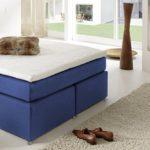 SAM® LED-Boxspringbett 140x200 cm Carmen, Stoff Kobalt-Blau, Nosag-Box, H3 Bonellfederkernmatratze, 4 cm Topper