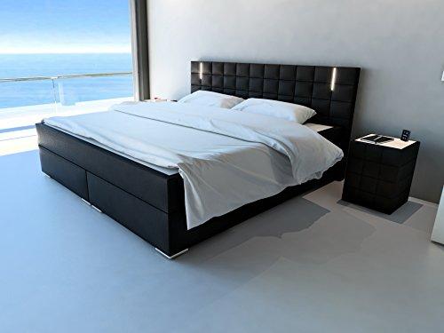 SAM® Design Boxspringbett mit Samolux®-Bezug in schwarz, LED-Beleuchtung, Bonellfederkern-Matratze, Box mit Holzrahmen und Nosag-Unterfederung, hochwertigen chromfarbenen-Füßen, 180 x 200 cm [521762]