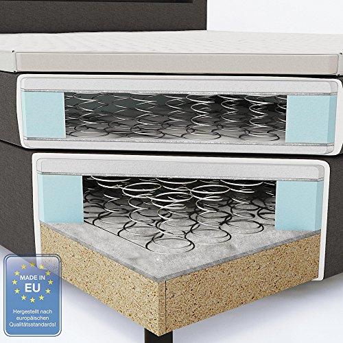 design boxspringbett led doppelbett bett hotelbett ehebett 180x200 cm grau. Black Bedroom Furniture Sets. Home Design Ideas