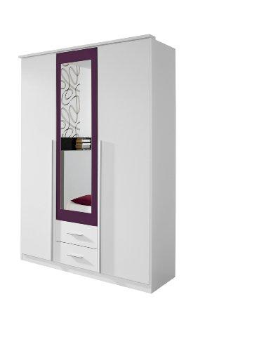 Rauch Kleiderschrank 3-türig mit Spiegel Weiß Alpin, Absetzung Brombeer Nachbildung, BxHxT 136x199x56 cm