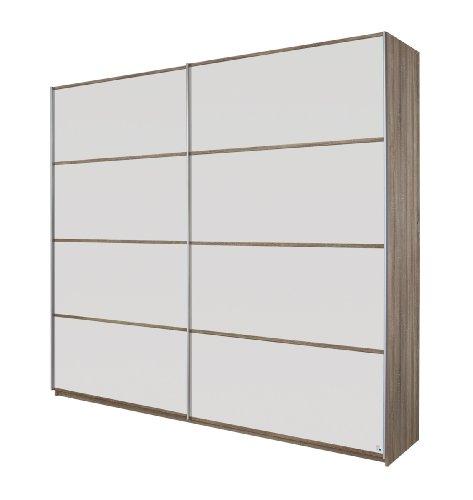 Rauch Schwebetürenschrank 2-türig Weiß Alpin, Eiche Havanna, BxHxT 226x210x62 cm