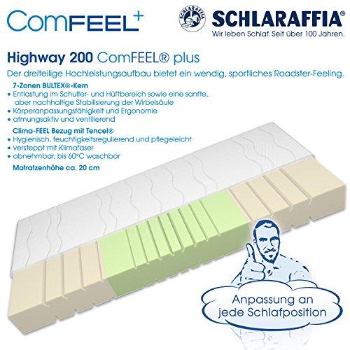 Schlaraffia Highway 200 ComFEEL 7-Zonen Kaltschaum-Matratze H3 (100 x 200cm)