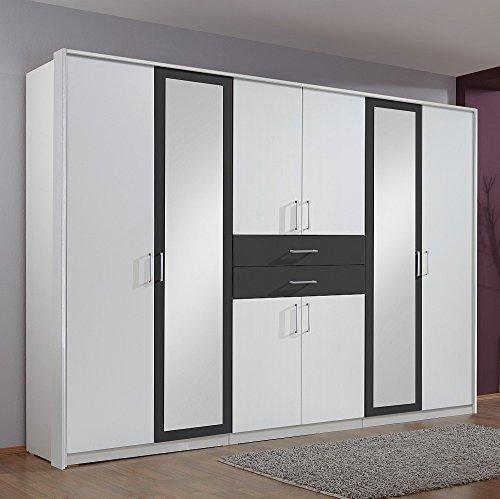 Kleiderschrank Diver Alpinweiß / Anthrazit, mit Spiegel, 2 Schubladen