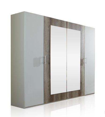 Wimex 795750 Kleiderschrank 4-türig 225 x 210 x 58 cm, zwei Spiegeltüren, Front und Korpus alpinweiß / Absetzungen Wildeiche-Nachbildung