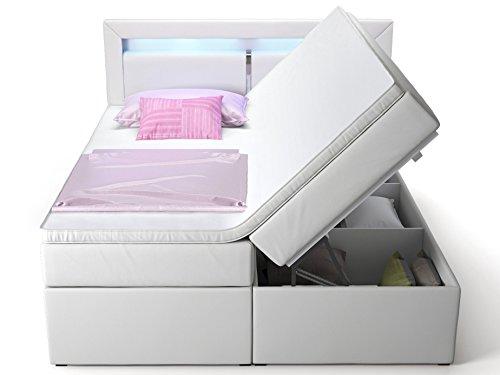 Boxspringbett mit Bettkasten weiß Sofia2 LED Beleuchtung Doppelbett Hotelbett Topper Taschenfederkern (180x200cm)