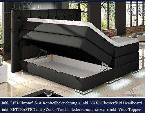 XXXL MAILAND Boxspringbett mit Bettkasten Designer Boxspring Bett Chesterfield LED SCHWARZ CHESTERFIELD DESIGN (180x200cm, Schwarz)