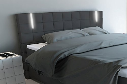 sam led boxspringbett 160x200 cm berlin kunstleder dunkelgrau nosagfederkern 7 zonen h3. Black Bedroom Furniture Sets. Home Design Ideas