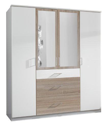 Wimex 152630 Kleiderschrank, 180 x 199 x 58 cm, 4-türig mit zwei breiten und einen schmalen Schubkasten, 2 Spiegel, Front und Korpus alpinweiß/ Absetzungen eiche sägerau Nachbildung