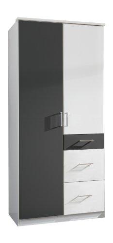 Wimex 147624 Kleiderschrank, 90 x 199 x 58 cm, 2-türig mit zwei großen und einen kleinen Schubkasten, Front und Korpus alpinweiß/ Absetzungen anthrazit
