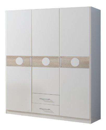 Wimex 310173 Kleiderschrank 135 x 181 x 58 cm 3-türig mit zwei Schubkästen, alpinweiß, Absetzung Eiche Sägerau Nachbildung