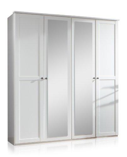 Wimex 985568 Drehtürenschrank 4-türig, 2 Spiegel, 180 x 210 x 58 cm, Landhausoptik, Front und Korpus alpinweiß