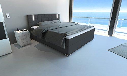sam led boxspringbett 160 200 cm berlin kunstleder dunkelgrau nosagfederkern 7 zonen h3. Black Bedroom Furniture Sets. Home Design Ideas