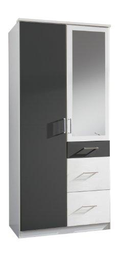 Wimex 147628 Kleiderschrank, 90 x 199 x 58 cm, 2-türig mit zwei großen und einen kleinen Schubkasten, 1 Spiegel, Front und Korpus alpinweiß/ Absetzungen anthrazit