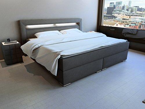 SAM® LED-Boxspringbett 180x200 cm, Austin, anthrazit, Stoff, Bonellfederkern-Matratze H3, Topper