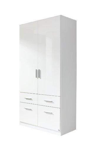 Rauch Kleiderschrank Weiß Hochglanz 2-türig mit 4 Schubladen, Korpus Weiß Alpin, BxHxT 91x197x54 cm