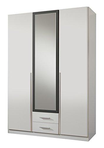 Wimex 153484 Kleiderschrank, 3-türig mit zwei Schubkästen und einer Spiegeltür, Korpus, 135 x 198 x 58 cm, anthrazit