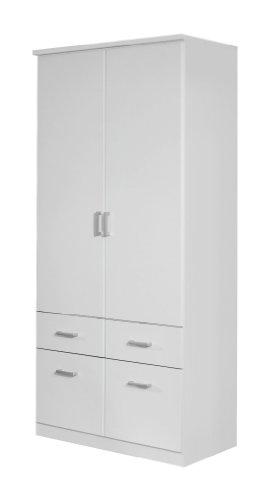 Rauch Kleiderschrank 2-türig Weiß mit Schubladen, BxHxT 91x199x56 cm