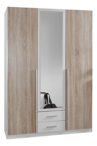 Wimex 119484 Kleiderschrank, 3-türig mit zwei Schubkästen und einer Spiegeltür, Front Korpus Außentüren Eiche Sägerau Nachbildung, 135 x 198 x 58 cm