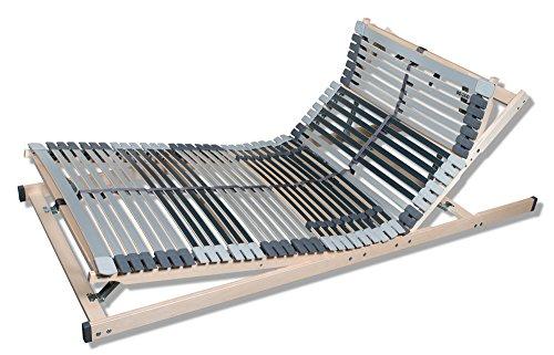 7 Zonen Lattenrost MediBalance, 44 Federholzleisten, Mittelgurt, verstellbarer Sitz- und Schlafkomfortrahmen 90x200 cm