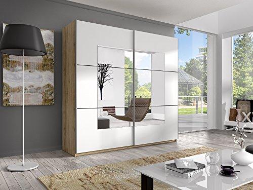 Schwebetürenschrank BERTA Schiebetürenschrank Kleiderschrank Schlafzimmerschrank (221 cm, san remo hell / spiegel)