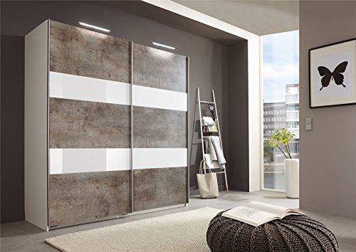 Deutsche Wimex Chess Glas Beton Schiebetür Kleiderschrank mit 135cm grau & weiß