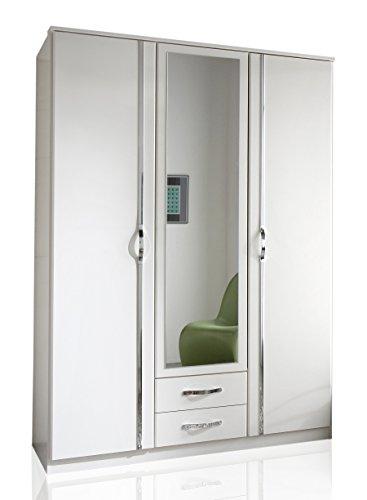 Wimex 078484 Kleiderschrank, 3-türig mit zwei Schubkästen und einer Spiegeltür, 135 x 198 x 58 cm, aufleistungen chrom