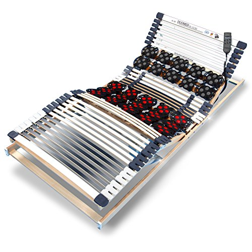 DUOMED stabiler BUCHE TELLER-LEISTEN Lattenrost - TÜV/GS + LGA/QS - FERTIG MONTIERT - 7-Zonen - elektrisch - 3 x KOPF+RÜCKEN+FUSS=SITZRAHMEN - 3-D TELLER-Federn für Schulter+Becken - BLAUER ENGEL - RAVENSBERGER 100x200 cm