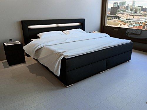 SAM® LED-Boxspringbett 180x200 cm, Austin, Kunstleder schwarz, Bonellfederkern-Matratze H3, Topper