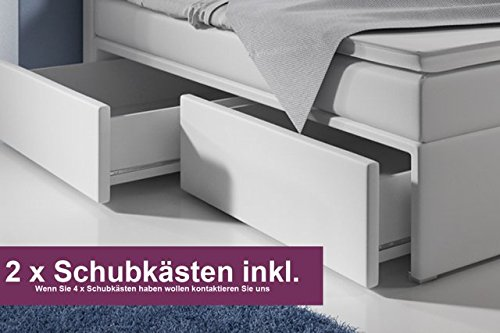 boxspringbett mit bettkasten 160x200 wei led kopflicht glasstein hotelbett neapel. Black Bedroom Furniture Sets. Home Design Ideas