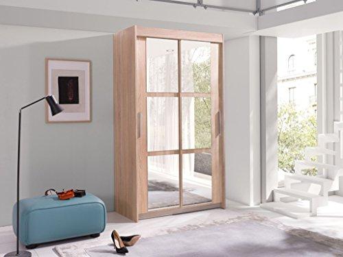 Kleiderschrank Schwebetürenschrank Schlafzimmerschrank KARO (100/216/60 cm B/H/T mit Spiegel, sonoma eiche)