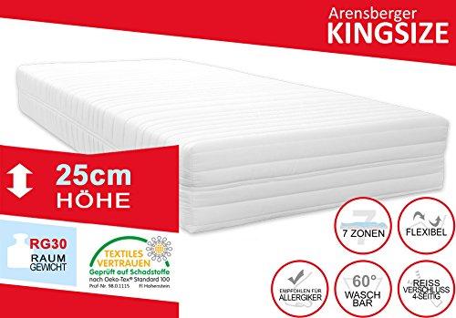 Arensberger 2412 Orthopädische Matratze (11 Zonen, Raumgewicht 30 kg/m³, H3 bis 110 kg, 140x200 cm)